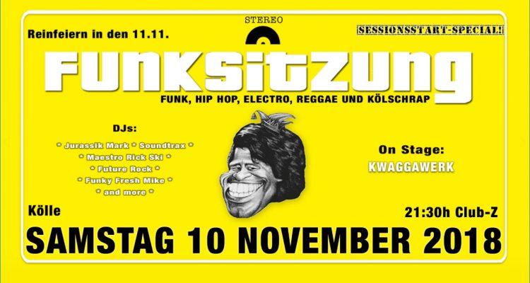 Funksitzung Sessionsstart Reinfeiern in den 11.11. im Club Z im Zimmermann's mit Funk, Hip Hop, Electro, Reggae un Kölschrap